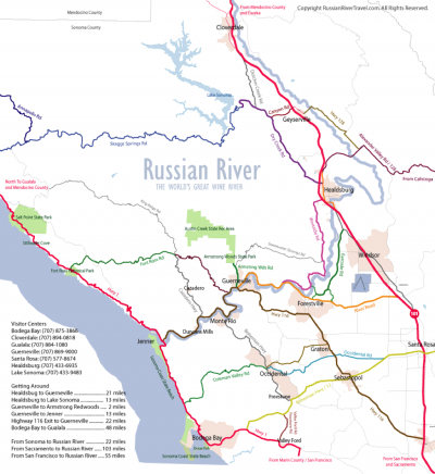 Map of Russian River for Stand Up Paddleboarding